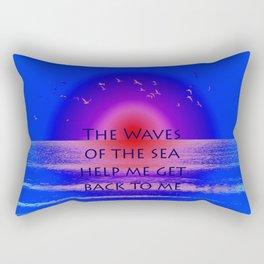 Waves of the Sea Quotation on Pink Horizon Rectangular Pillow