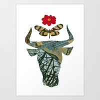 bull and butterfly series#1 Art Print
