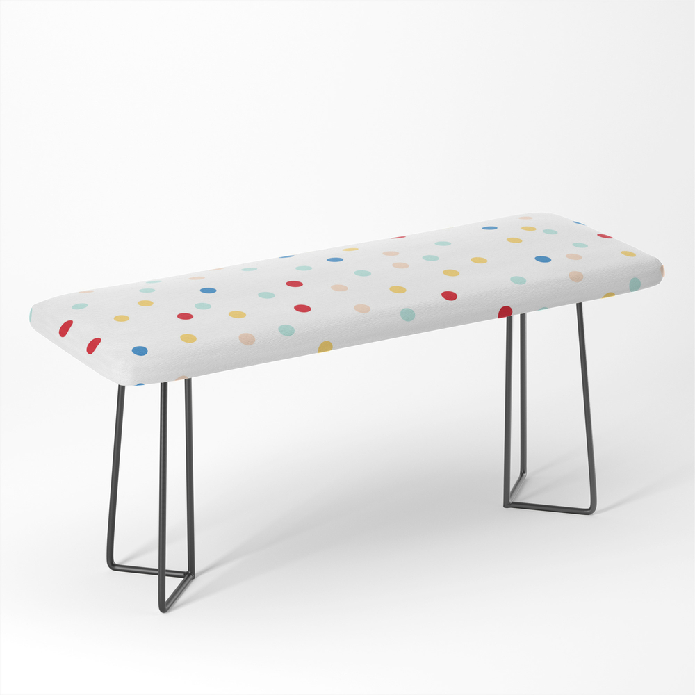 Sprinkles Pattern Rainbow Texture Polka Dot Home Decor Christmas Bench by thehappysalad