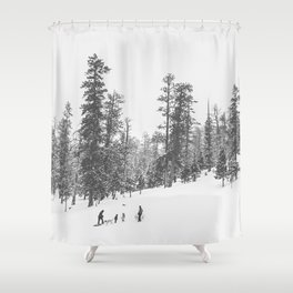 Sledding // Snowday Winter Sled Hill Black and White Landscape Photography Ski Vibes Shower Curtain