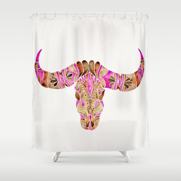Shower Curtains Pink And Brown.Water Buffalo Skull Pink Brown Shower Curtain By Catcoq Society6