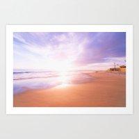 Sunset Beach Scene , Summertime, Pastel Sky Art Print