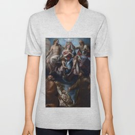 Coronation of the Virgin with Saints Joseph and Francis of Assisi Unisex V-Neck