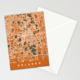 ORLANDO Map Florida - USA | Orange Stationery Cards