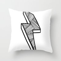 lightning Throw Pillows featuring Lightning by Amber Lily Fryer