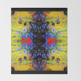 YELLOW GARDEN GOLD BLUE FLOWERS BLACK  PATTERN ART Throw Blanket