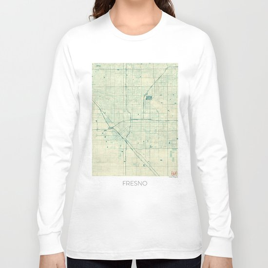 Fresno Map Blue Vintage Long Sleeve T-shirt