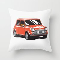 mini cooper Throw Pillows featuring Mini Cooper Car - Red by C Barrett