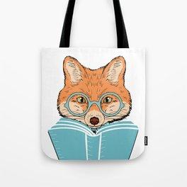 Reading Fox - White Background Tote Bag