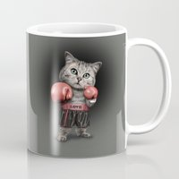 boxing Mugs featuring BOXING CAT by ADAMLAWLESS