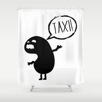 taxi driver Shower Curtains featuring Taxi! by flydesign