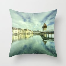 Chapel Bridge  of Lucerne Throw Pillow