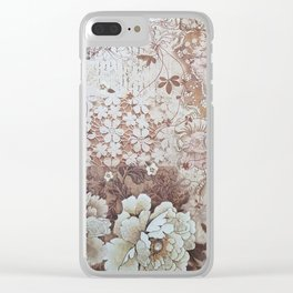 Rustic vintage ivory brown lace floral typography Clear iPhone Case