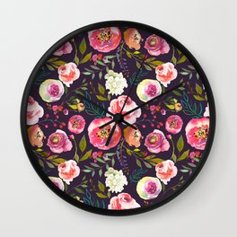 Floral watercolor chalk print pink peonies Wall Clock