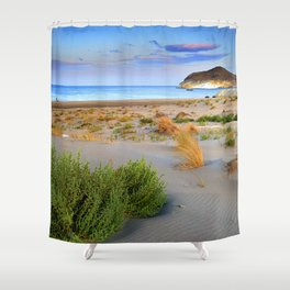 """Genoveses Beach"" Sunset at beach Shower Curtain"