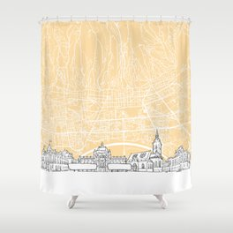 Zagreb Croatia Skyline Map Shower Curtain