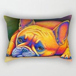 Colorful French Bulldog Rainbow Dog Pet Portrait Rectangular Pillow