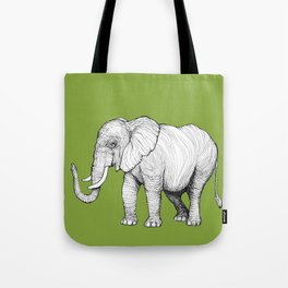 Elephant on Bright Olive Tote Bag