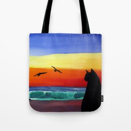 Cat on the Beach Tote Bag