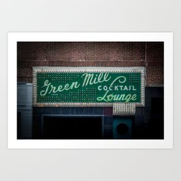 Green Mill Cocktail Lounge Vintage Neon Sign Uptown Chicago Art Print