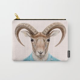 U is for a Urial with an Umbrella and Unicorn Patterned Shirt | Art Print Carry-All Pouch