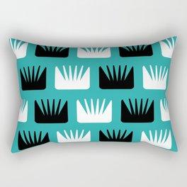 Mid Century Modern Abstract Flowers Teal Rectangular Pillow