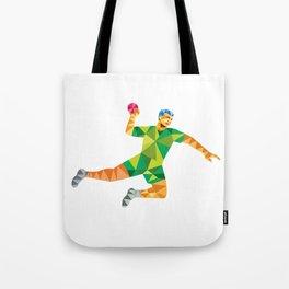 Handball Player Jumping Throwing Ball Low Polygon Tote Bag