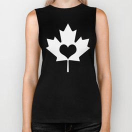 Canada Day Maple and Heart Biker Tank
