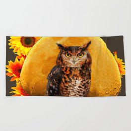 NIGHT OWL MOON SUNFLOWER ART Beach Towel
