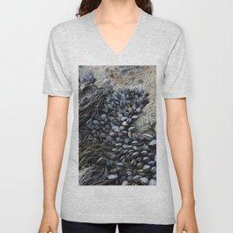 Mussel Bed on Ocean Weathered Rocks Unisex V-Neck