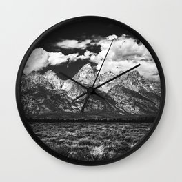 Mountain Summer Escape - Black and White Tetons Wall Clock