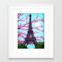 eiffel tower Framed Art Prints featuring Eiffel Tower by ArtLovePassion