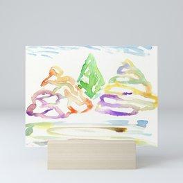 Watercolor modern trees Mini Art Print