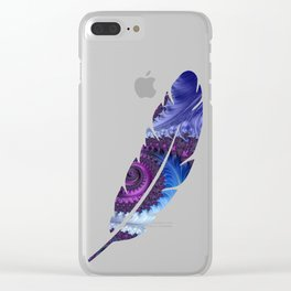 Feathery Flow Feather Cutout - Fractal Art Clear iPhone Case
