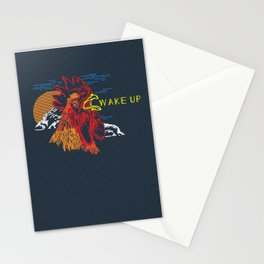 Wake Up Monoline Rooster Graphic Stationery Cards
