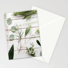 Green Botanical Flowers Stationery Cards