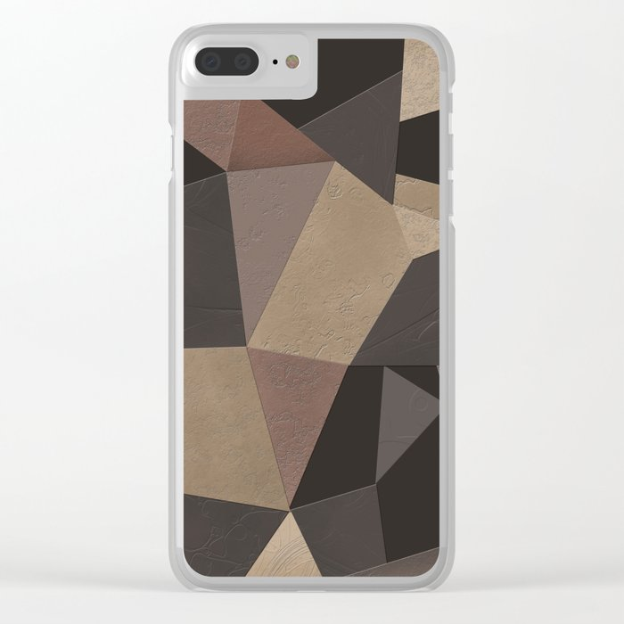 Brown pattern . Leather patches . Clear iPhone Case