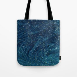 glitter marble in a midnight blue marbleized effect painting Tote Bag