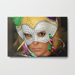 Woman with Mask Metal Print