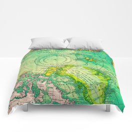 Colorful Map of the North Pole - Vintage Comforters