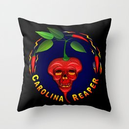 Carolina Reaper Skull Throw Pillow