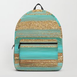 Turquoise Brown Faux Gold Glitter Stripes Pattern Backpack
