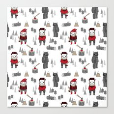 Forest lumberjack and bear nursery kids cute woodland camper gifts Canvas Print