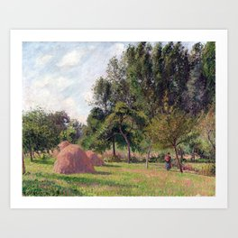 Camille Pissarro Haystacks, Morning, Éragny Art Print