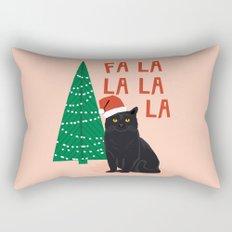 Black Cat cute fa la la christmas xmas tree holiday funny cat art cat lady gift unique pet gifts Rectangular Pillow