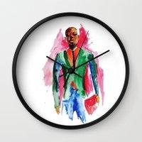 the dude Wall Clocks featuring Dude by Anastasiya  Tcapko