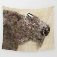 buffalo Wall Tapestries featuring hello buffalo by bri.buckley