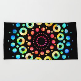 Multi-Color Mandala Tie-Dye Circle Shapes Beach Towel