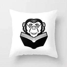 Chimpanzee Chimp Monkey Primate or Ape Wearing Glasses Reading Book Mascot Black and White Throw Pillow