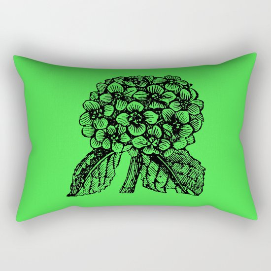 Green Hydrangea Rectangular Pillow